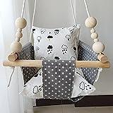 HB.YE - Sedia amaca in tela di lino per bambini con delizioso motivo, da esterni, con anello di dentizione in legno e 2 cuscinetti in cotone, decorazione per la cameretta