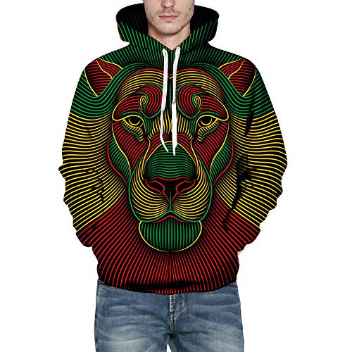 2018 Big Caopixx Sweatshirt for Men Autumn Winter 3D Print Long Sleeve Hooded Pullover Top Blouse