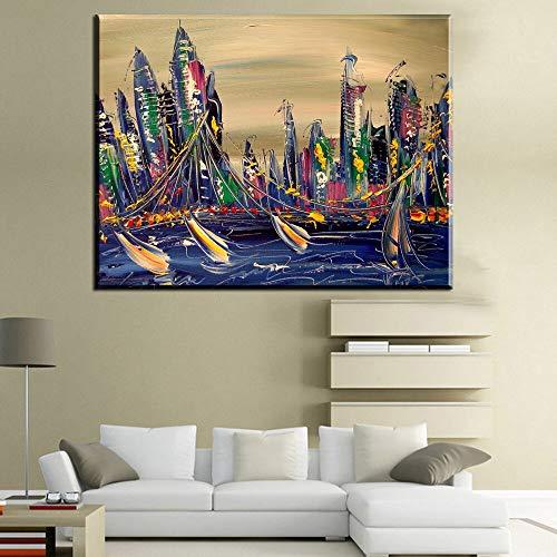 HGlSG Abstract canvas olieverfschilderij stad bouwen canvas art prints poster Woonkamer Home Decor A2 60x80cm