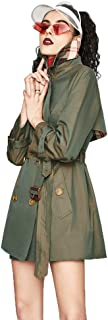 Women's Double Breasted Mid-Length Trench Coat,Classic Waterproof Overcoat with Belt Female,Two Colors Optional,Green,XS