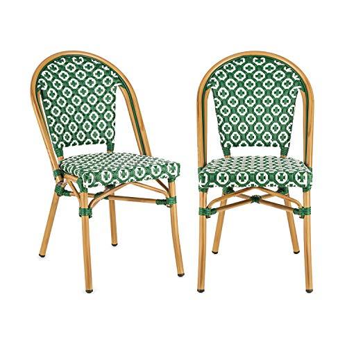 blumfeldt Montbazin GR - Chaise de Jardin, Nettoyage Facile, Cadre en Aluminium, Résistante aux intempéries, Empilable, Peu encombrante, Assise spacieuse, Lot de 2, Vert