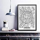 Mode Leinwand Malerei Moskau Stadtplan Poster Kunstdrucke