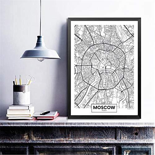 Mode Leinwand Malerei Moskau Stadtplan Poster Kunstdrucke Moderne Minimalistische Kunst Malerei Schwarzweißbild Für Wohnzimmer Wandkunst Dekor Gemälde 60 * 90cm