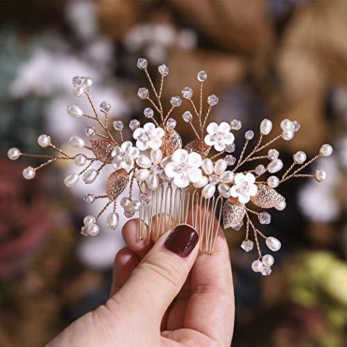 Simsly Peineta para el pelo de novia con flores de novia o boda de plata o oro rosa, accesorios para el pelo para mujeres y niñas (oro rosa)