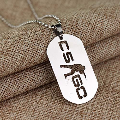 YUNMENG Coole Cs Go Halskette Counter Strike Hundemarke Anhänger Hochwertige Halsketten Collier Schmuck Spiel Thema Cs Go Geschenk für Spieler