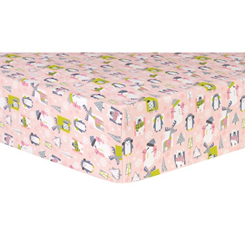 Trend Lab 100% Cotton Snow Pals Deluxe Flannel Fitted Crib Sheet, Pink/Gray/Green