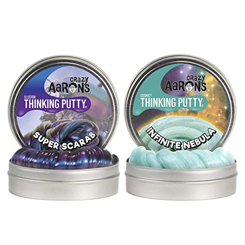 Crazy Aaron's Thinking Putty 4' Tin Double Pack (6.4 oz) - Super Illusions Super Scarab and Cosmic Infinite Nebula - Multi-Color Sparkle Glow Putty - Never Dries Out