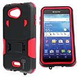 Kyocera Hydro Air Case, Kyocera Hydro Wave Case, CoverON [DuraShield Series] Drop Proof Phone Cover Grip + Bumper + Stand Hybrid Case for Kyocera Hydro Air/Hydro Wave - Red & Black