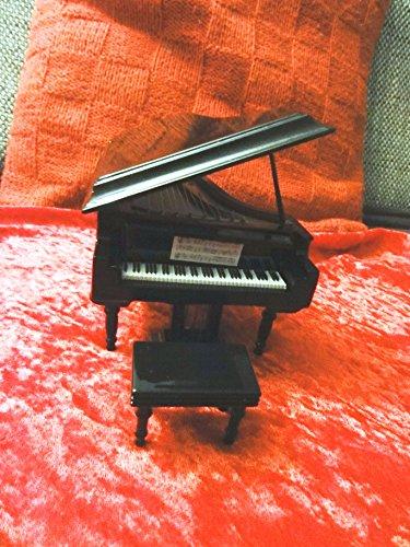 Black Baby Grand Piano, 1:12, Piano zum Aufklappen und Hocker mit Geschenkebox