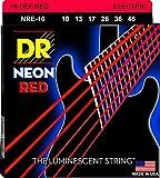 DR String NRE-10 - Juego Cuerdas Guitarra Eléctrica, Rojo Neón