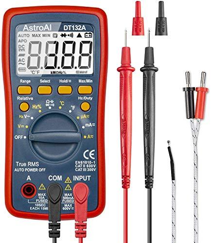 AstroAI Digital Multimeter, Voltmeter Ohmmeter Amperemeter Mit TRMS 4000 Counts, Manuell und Auto-Range, Misst Spannung, Strom, Widerstand, Durchgang, Frequenz, Dioden, Temperatur, Rot
