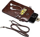 Funda protectora para pantalla táctil, multifunción, transparente, con correa ajustable, para viajes, cruzado, monedero, teléfono inteligente, marrón (Marrón) - LUO-WANdf2a5va9