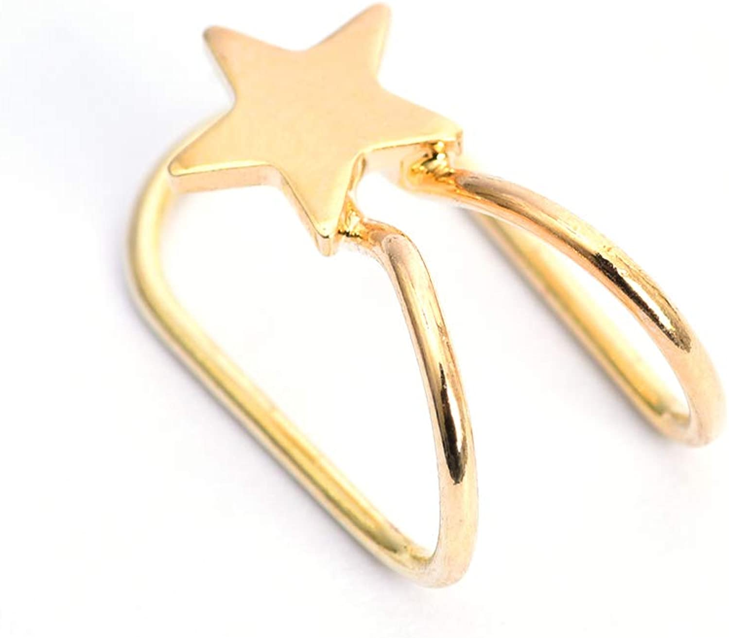 KAKA Gold Plated Cuff Earrings for Women and Girls Star Shape Adjustable Ear Clip Cuff Earring Gifts, Golden