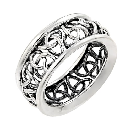 Sterling Silver Trinity Knot Band Celtic Wedding Ring (10.5)