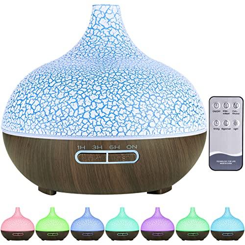 MAISITOO Humidificador ultrasónico y difusor de Aroma 550 ml.Ultra silencioso,Apagado Automático.Humidificador Aceites Esenciales con Control Remoto y LED de 7 Colores de para Hogar, Oficina, SPA
