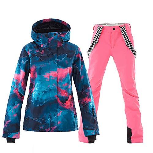 Damen Skijacke und Hose Set bunt bedruckt winddicht wasserdicht Schneeanzug Regenmantel (Navy + Pink, XL)