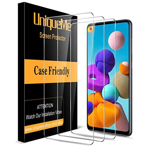 [3 Pezzi] UniqueMe Vetro Temperato compatibile con Samsung Galaxy A21s, Pellicola Protettiva compatibile con Samsung Galaxy A21s 9H Ultra Resistente [Bubble-Free]