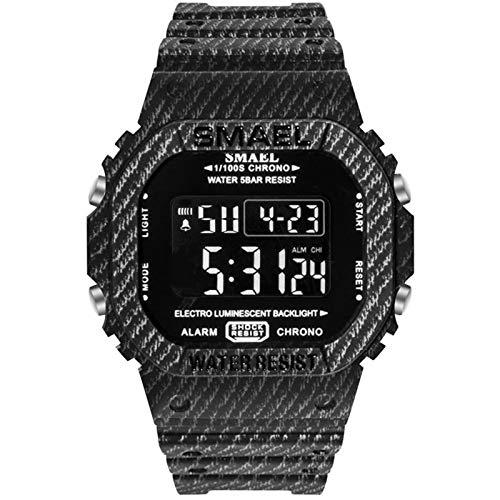QZPM Hombre Digital Reloj De Pulsera, Retroiluminación Multifunción Impermeable con Alarma Cronómetro Militares Hombres De La Muñeca Relojes,Negro