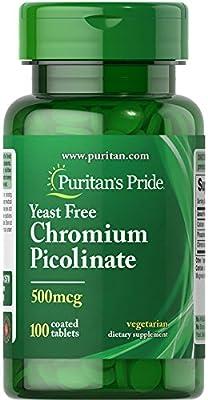 Puritans Pride Chromium Picolinate 500 Mcg Yeast Free, 100 Count