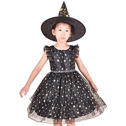Sunny Fashion Vestido para niña Conjunto Víspera de Todos los Santos Bruja Disfraz Negro Espumoso Estrella Bruja Sombrero 4-5 años