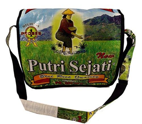 Guru-Shop Upcycling Tasche, Schultertasche aus Recycelten Reissack, Herren/Damen, Mehrfarbig, Synthetisch, Size:One Size, 30x40x10 cm, Ausgefallene Stofftasche