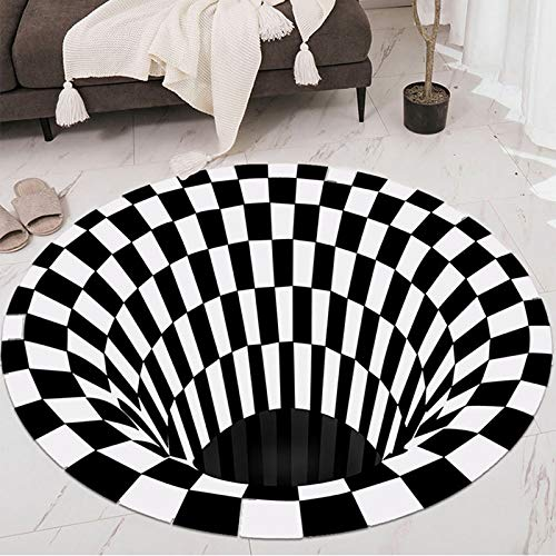 TIAS Schwarz-weißer runder Teppich, schwarzes Loch karierter Vortex-Teppich, rutschfester 3D-Illusion-Teppich, schwarz-weiß Gitter-tiefes Loch Stereo Vision-Matte