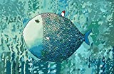 Paint by Numbers 16 x 20 inch Canvas Art Kit DIY Oil Painting for Kids/Students/Adults Beginner-Blue Cartoon Fish