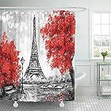 GLONLY Duschvorhänge Paris Europäische Stadt Landschaft Frankreich Eiffelturm Schwarz Weiß & Rot Moderne Kunst Bäume Vintage Wasserdicht Bad Vorhang Polyester Stoff mit 12 Haken 180x180 cm
