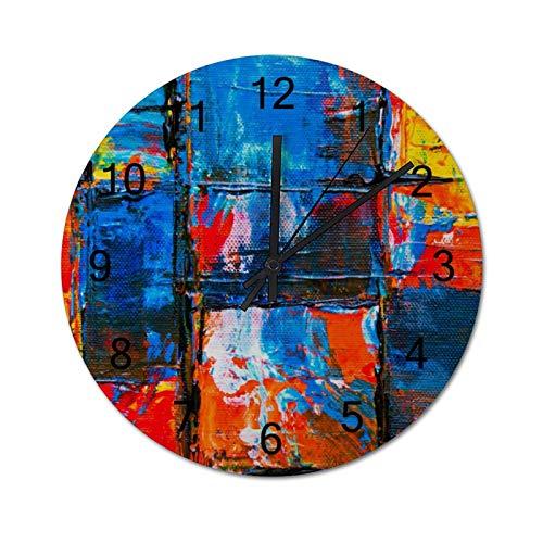 happygoluck1y Reloj de pared moderno de madera con pintura abstracta azul y naranja para sala de estar, dormitorio, silencioso, rústico, casa de granja, 30,48 cm para paredes