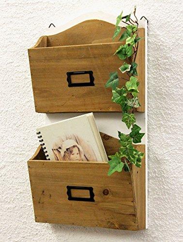 DanDiBo Wandregal Zeitungsständer 12272 Regal 45 cm Shabby Küchenregal Zeitungshalter