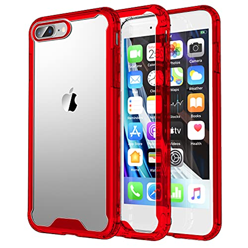 Krichit Shockproof Case for iPhone 7 Plus & iPhone 8 Plus Clear Case Hard PC Back Anti-Scratch, Soft TPU Bumper, Protective Cover for iPhone 7 Plus/iPhone 8 Plus (Red)
