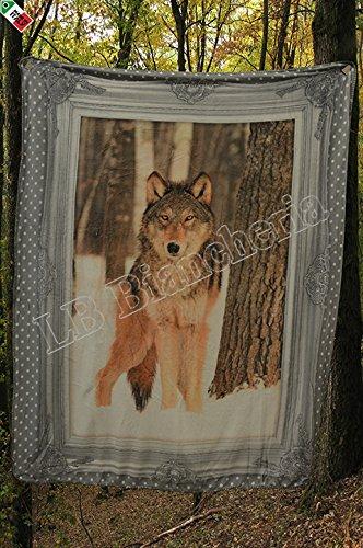Lovely Home - Coperta Plaid agnellato cm 130X160 Country Chic Lupo Wolf- Stampa Digitale- Idea Regalo Natale