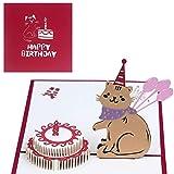 EUFANCE pastel de cumpleaños tridimensional Tarjeta de felicitación emergente 3D, aniversario cumpleaños del bebé Halloween Año nuevo Acción de gracias Navidad Boda Día de San Valentín