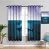 MENGBB Cortina Opaca Microfibra Infantil - Tiburón dibujos animados mar azul - 95% Opaca Cortina aislantes de frío y Calor - 280x260cm Decorativa con Ojales Estilo para Salón Habitación y Dormitorio