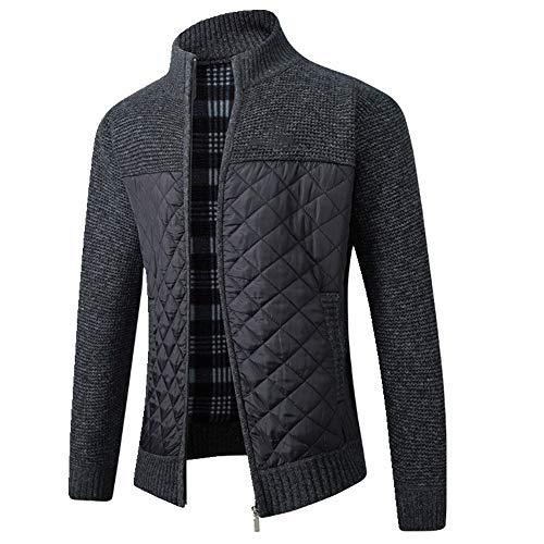 Herbst Stitching Pullover Jacke Herren Reißverschluss Stricken Gr. M, Schwarz