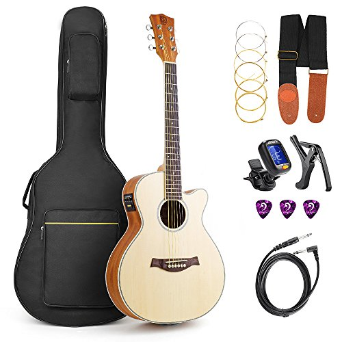Vangoa 3/4 Size Acoustic Electric Guitar Bundle Junior Travel 36 Inch Acoustic Cutaway Guitar Spruce Top for Beginners Teens Kids Adults with 2-Band EQ, Built-in Tuner and Gig Bag