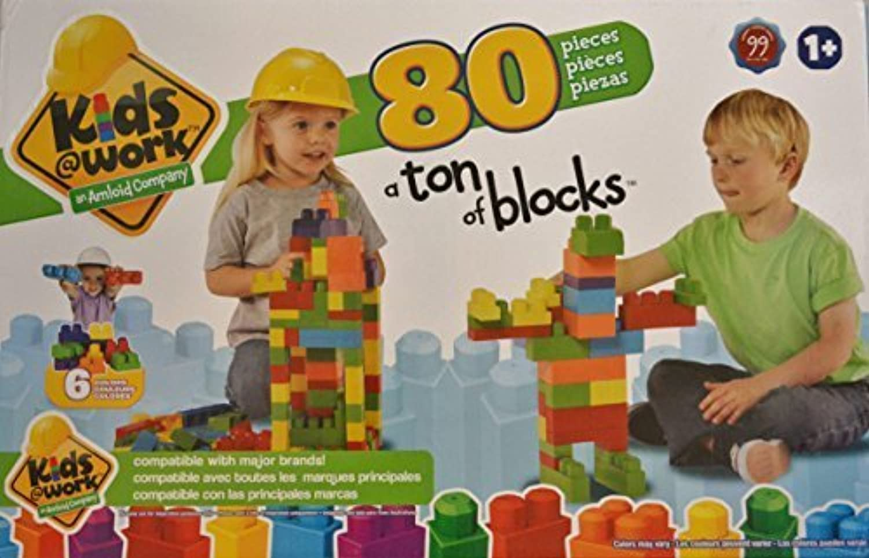 A A A Ton of Blocks, 80 piece Interlocking Building Blocks by Kids @ Work 5e9107