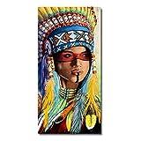 NOBRAND Moderno Abstracto Pluma Chica Mujer Colorido Retrato Lienzo Pintura Arte De La Pared Cartel E Impresión Decoración De La Sala De Estar