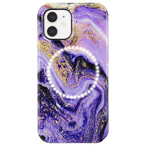 LuMee Halo by Case-Mate - Light Up Selfie Case for iPhone 12 and iPhone 12 Pro (5G) - Front & Rear Illumination - 6.1 Inch - Purple Marble