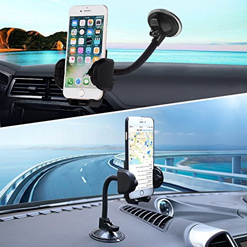 Cell Phone Holder, LotFancy Mobile Phone Car Phone Mount, Universal Long Arm Windshield Car Phone Mount Cradle for GPS iPhone 11Pro 11 XS Max XR 8Plus 8 7 7Plus 6 6Plus 5S 5 5C Samsung Galaxy Series