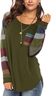Women's Long Sleeve Spring Color Block Sleeve Tunic Tops