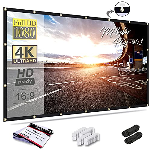 Mdbebbron 150 inch Projection Screen 16:9 Foldable Anti-Crease Portable Projector Movies Screen for...