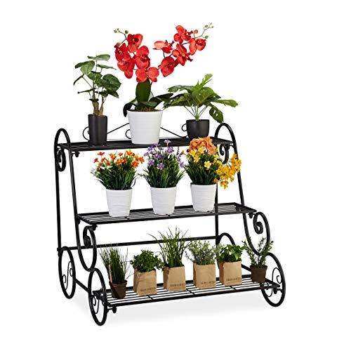 Relaxdays Blumentreppe aus Metall, rechteckiges Blumenregal mit 3 Ebenen, antik, für Garten, Balkon & Terrasse, schwarz, 1 Stück