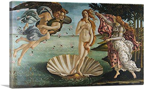 "ARTCANVAS The Birth of Venus 1485 Canvas Art Print by Sandro Botticelli - 40"" x 26"" (1.50"" Deep)"