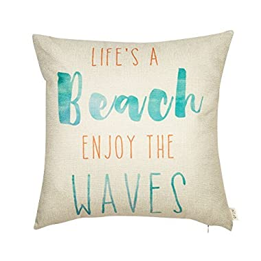 Fjfz Life's a Beach Enjoy the Waves Funny Motivational Sign Inspirational Quote Cotton Linen Home Decorative Throw Pillow Case Cushion Cover with Words for Sofa Couch, Aqua Turquoise Mint, 18  x 18