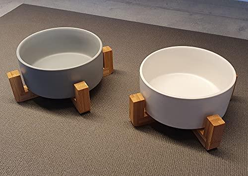 SanoZoo® Napf für Hunde & Katzen aus Keramik & Bambus (1x Weiß 1x Grau)