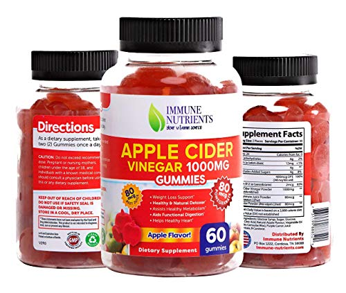 Apple Cider Vinegar Gummies Vitamins by Immune Nutrients - Immunity & Detox - (1 Pack, 60 Count, with The Mother, Vitamin B9, B12, Beetroot, Pomegranate) Apple Flavor