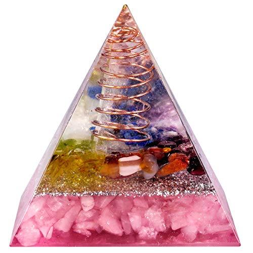mookaitedecor Heilstein Kristall Pyramide mit Rosenquarz, Positive Energiepyramide für EMF Schutz Meditation/Yoga/Heilchakra/Wohnkultur 50mm