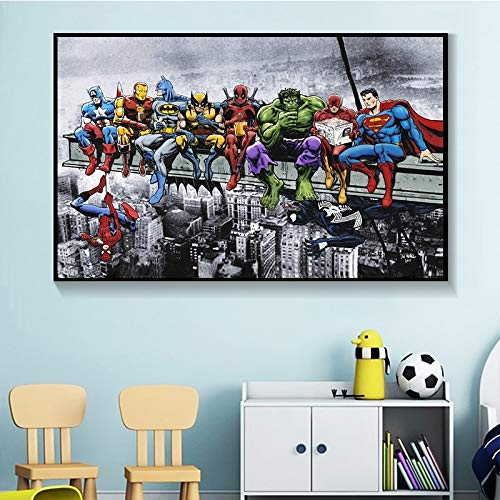 ganlanshu Moderne Wandkunst-Hauptdekorationsmalerei des Anime-Helden heißen Filmplakats auf Leinwand,Rahmenlose Malerei,60X90cm