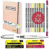ONLINE Juego de 10 bolígrafos caligráficos Calli.Brush para escribir, diario de escritura, cuaderno de escritura a mano, cartuchos de tinta de colores, estuche de lona, idea de regalo